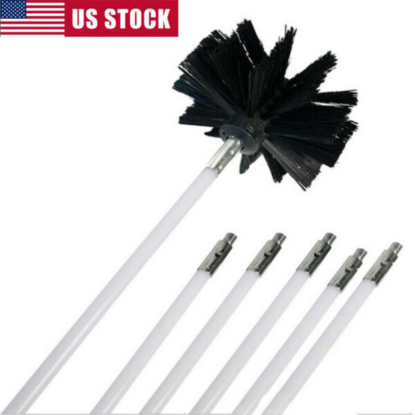 6PCS Chimney Cleaner Brush Cleaning Rotary Sweep System Fireplace Cleaning Rods