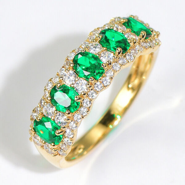 2Ct 100% Natural Diamond 14K Yellow Gold Colombian Emerald Cluster Ring RWG213