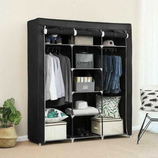 69quot; Portable Closet Wardrobe Clothes Ample Storage Space Organizer Armoire Free