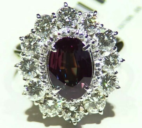 GIA Certified 4.78CT Platinum Natural Brazilian Alexandrite Diamond Vintage Ring