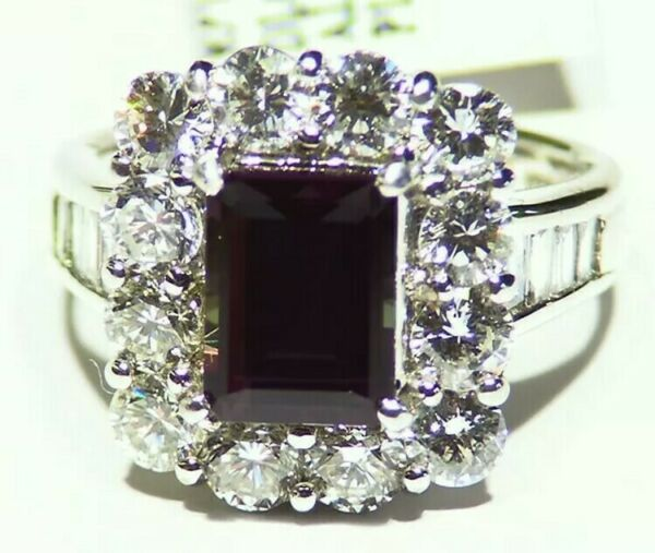 GIA Certified 4.94CT Platinum Natural Brazilian Alexandrite Diamond Vintage Ring