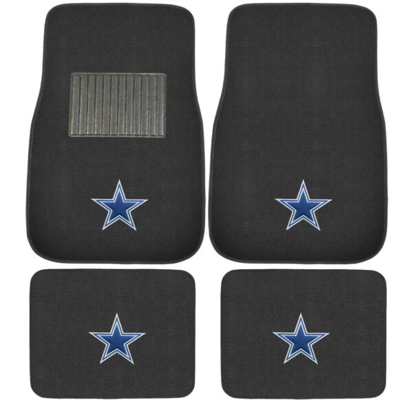 New 4pcs NFL Dallas Cowboys Car Truck Front Rear Carpet Floor Mats Set