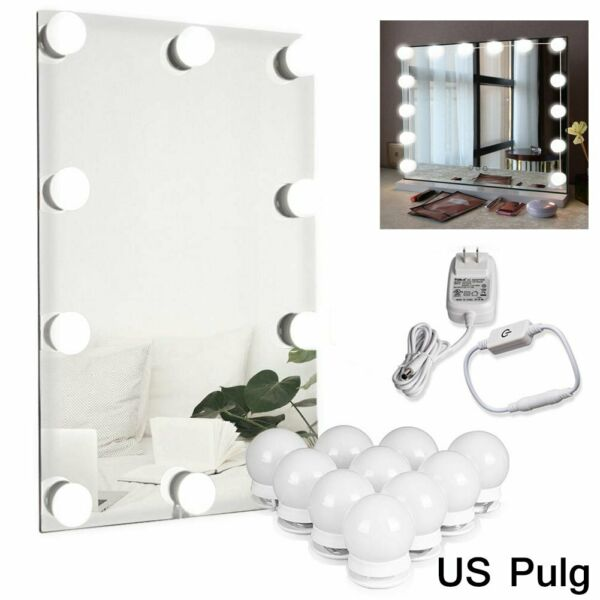 10 Dimmable Bulbs LED Vanity Hollywood Style Dressing Up Makeup Mirror Light Kit $16.91