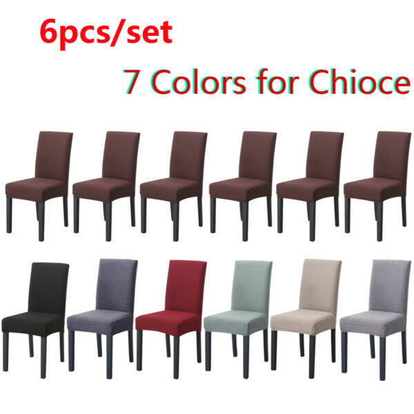 Set of 6 Chair Cover for Dining Room Wedding Banquet Stretch Spandex Party Decor