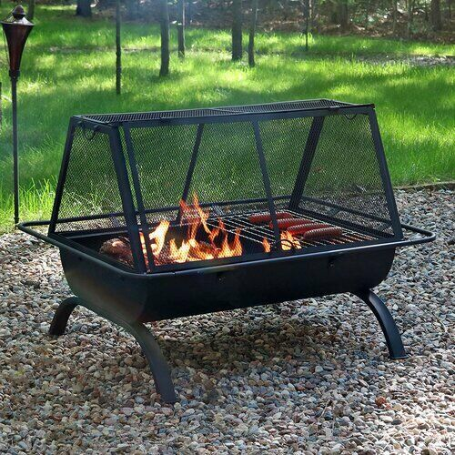 Wood Charcoal Burning Steel Fire Pit Outdoor Patio Backyard Camping Grill Stove