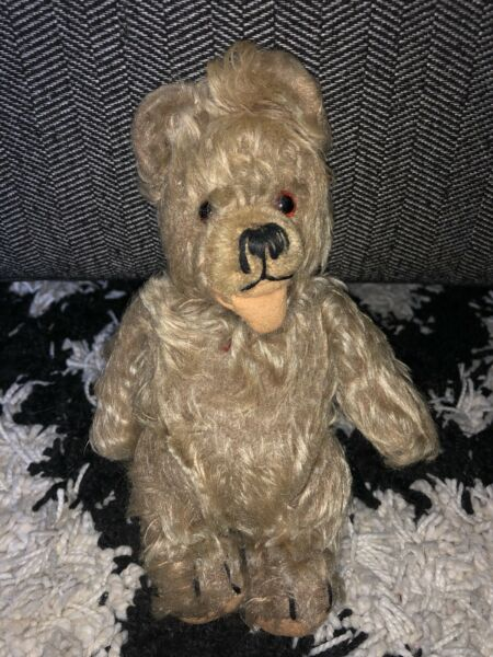 "8"" ANTIQUE TEDDY BEAR VINTAGE PLUSH STEIFF STUFFED ANIMAL BROWN GERMANY SMALL"