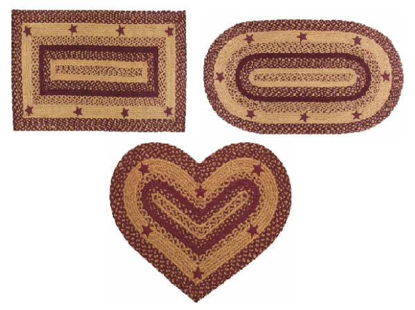 Star Wine Braided Area Rug Rectangle Heart Oval Jute Fabric 20