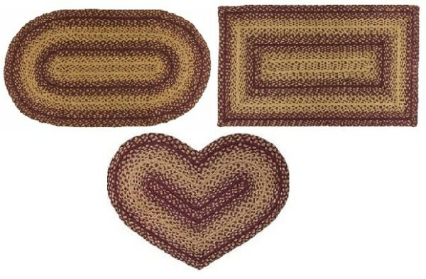 Vintage Star Braided Area Rug Rectangle Oval Heart 20