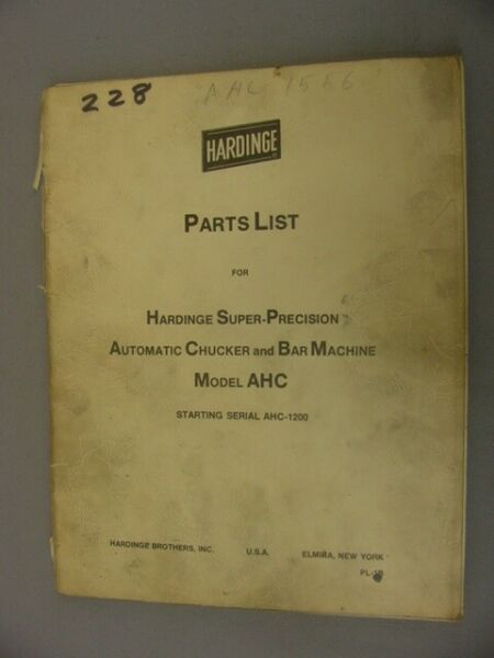 Hardinge Parts Manual for AHC Automatic Chucker & Bar Machine