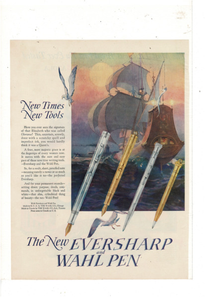 VINTAGE NEW WAHL EVERSHARP WAHL FOUNTAIN PEN NEW TIMES NEW TOOLS AD PRINT H325