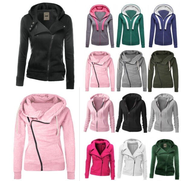 Women Winter Plain Zip Up Fleece Hooded Sweatshirt Hoodies Coat Jacket Sport Top