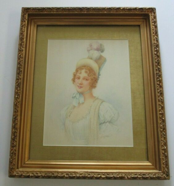 Percy (Edward Percy) Moran  (1862 - 1935) PAINTING PORTRAIT ANTIQUE FEMALE MODEL