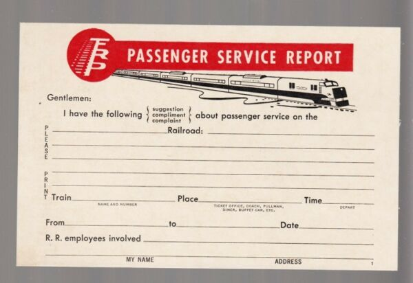 36579R OLD FEDERAL FOR RAILWAY PROGRESS SERVICE REPORT BUSINESS REPLY CARD