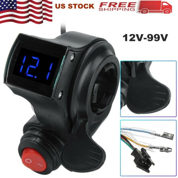 12-99V E-bike Twist Thumb Throttle Electric Bike LED Battery Voltage Indicator