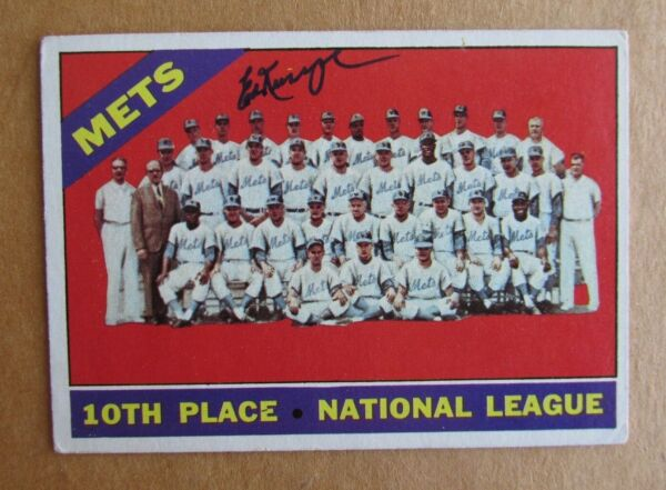 1966 TOPPS BASEBALL ED KRANEPOOL NEW YORK METS #172 SIGNED AUTOGRAPHED TEAM CARD