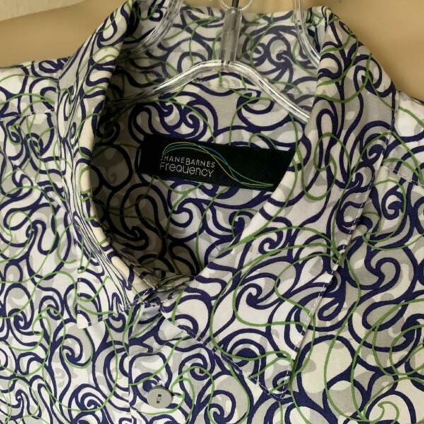 JHANE BARNES Frequency Men's Squiggles Short Sleeve Button Up Shirt L $140+