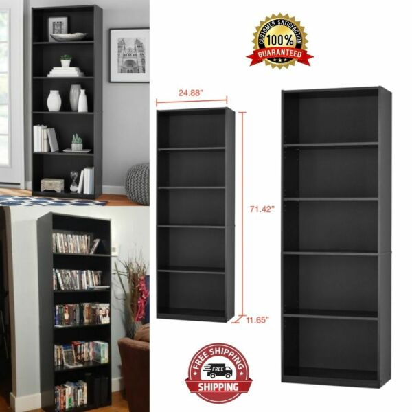 Closed Back Bookcase 71 Tall 5 Particle Board Shelves White Black Wood Finish