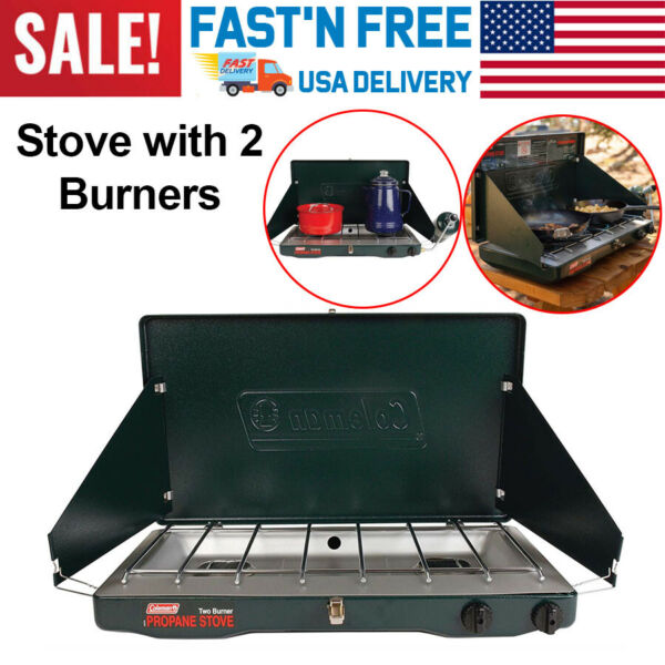 Coleman Propane 2 Burner Camp Stove Outdoor Camping Adjustable Portable Cooking