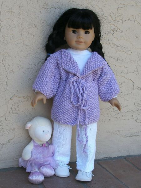 clothes for 18 inch dolls hand-knit jacket