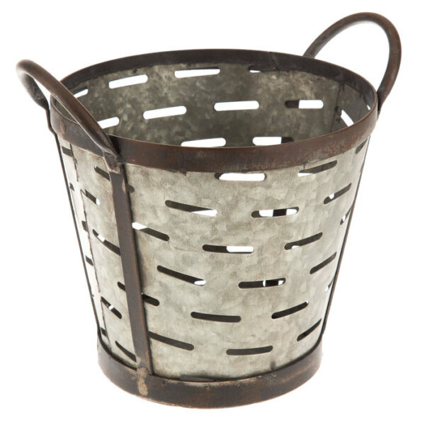 Farmhouse Antique Style Metal Olive Bucket Country Home Decor Shabby Chic