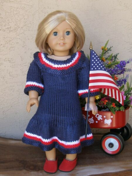 clothes for 18 inch dolls hand knit dress For July 4th