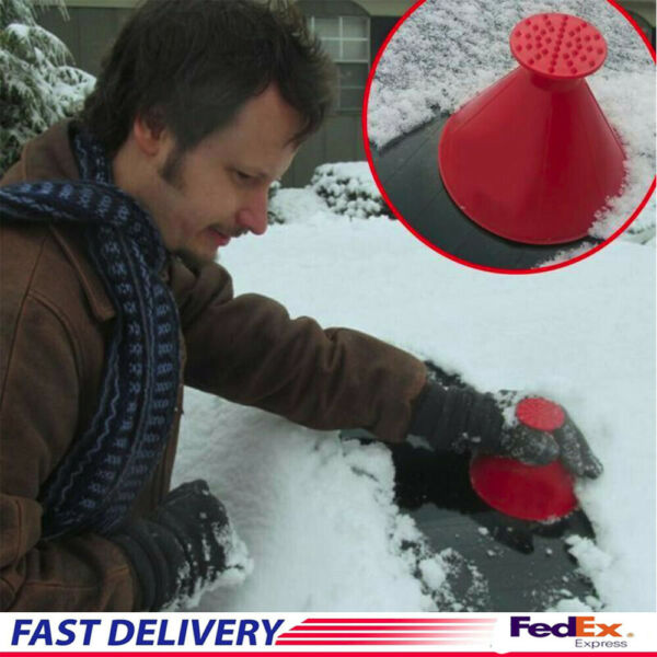 Magical Car Windshield Ice Snow Remover Scraper Tool Cone Shaped Round Funnel US