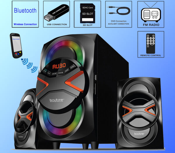 Boytone BT-626F, 2.1 Bluetooth Powerful Home Theater Speaker System FM Radio