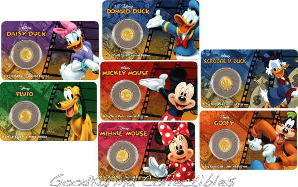 2016 Niue Proof Gold 9999 .5g Disney Friends Mickey Minnie Scrooge McDuck Set