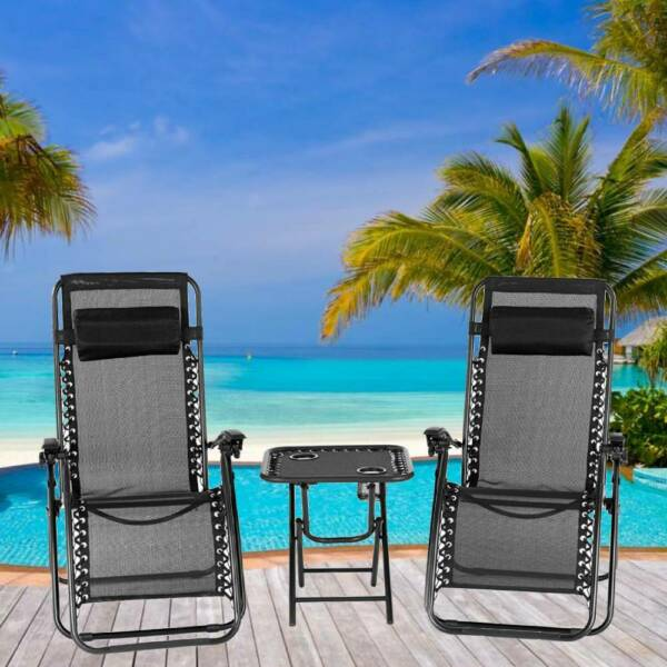 3 PCS Zero Gravity Chair Patio Chaise Folding Lounge Table Chair Sets Recliner $89.90