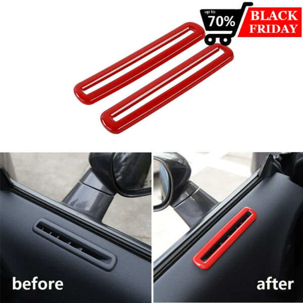 Pair Red Door Air Outlet Vent Trim Cover For Dodge Challenger 2015+ Accessories