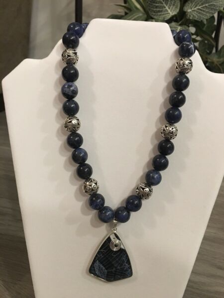 Necklace.  16 Inch Blue Sodalite Stone Hearth And Heart Collection