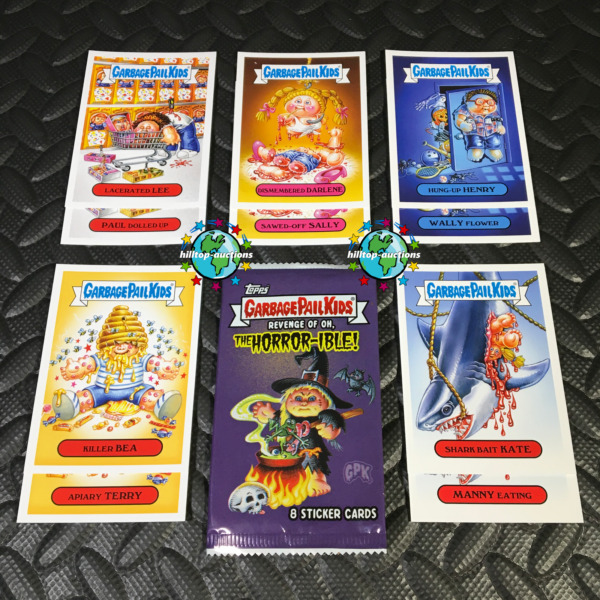 GARBAGE PAIL KIDS REVENGE OF OH THE HORROR-IBLE 2019 HORROR VICTIMS SET+WRAPPER