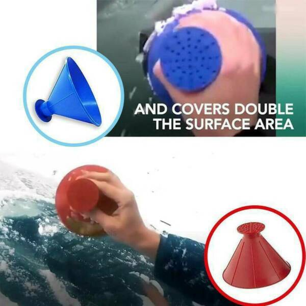 Magical Car Windshield Ice Snow Remover Scraper Tool Cone Shaped Round Funnel FF