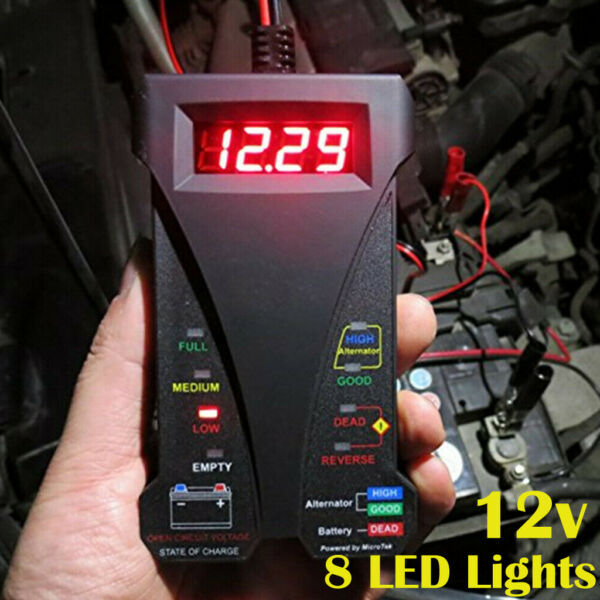 12V Car Battery Tester 8 LED Lights Digital Alternator Tester Auto Load Analyzer