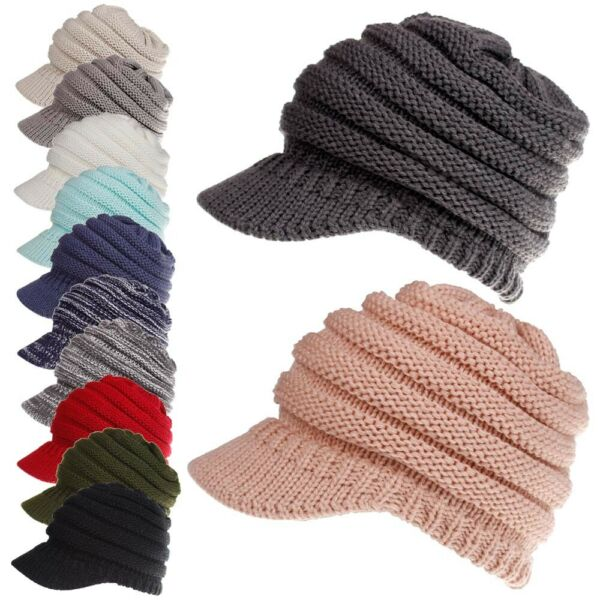 Womens Stretch Knit Hat Messy Bun Ponytail Beanie Winter Warm Knitted Hole Cap