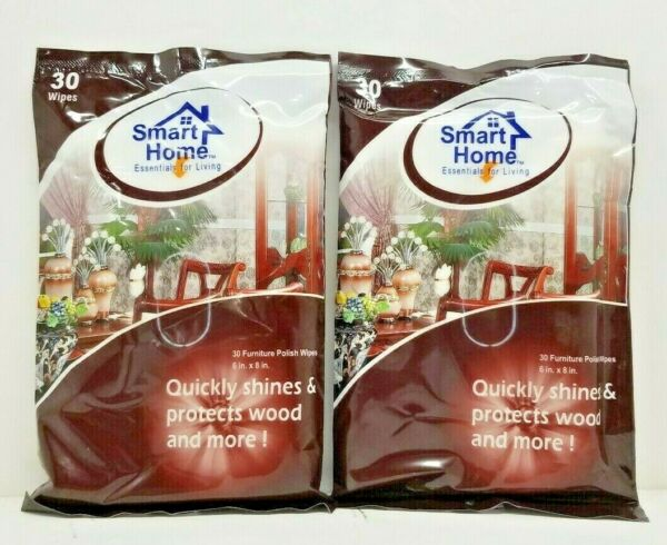2 Packs Furniture Polish Wipes 30 Wipes Quickly shines & protects wood and more
