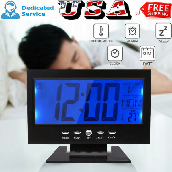 Large Display LCD Digital Table Clock Calendar Temperature Alarm Humidity Snooze