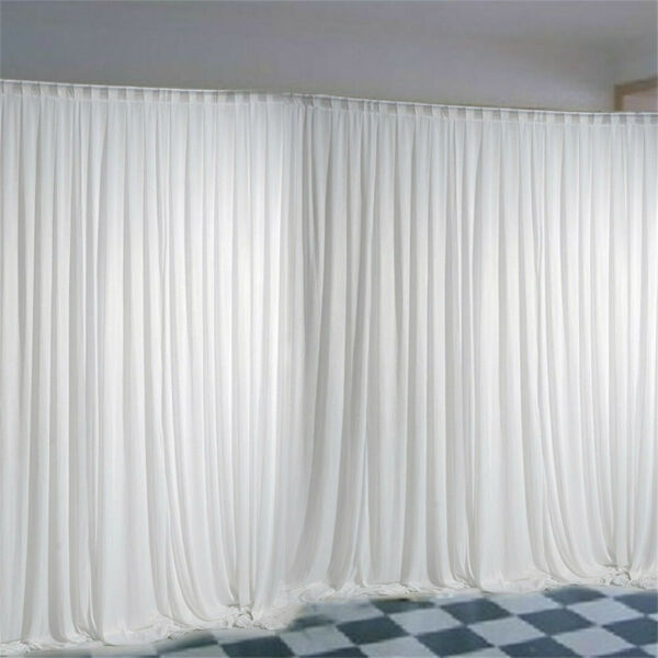 10ft Silk White Backdrop Drapes Curtain Wedding Ceremony Party Home Window Decor