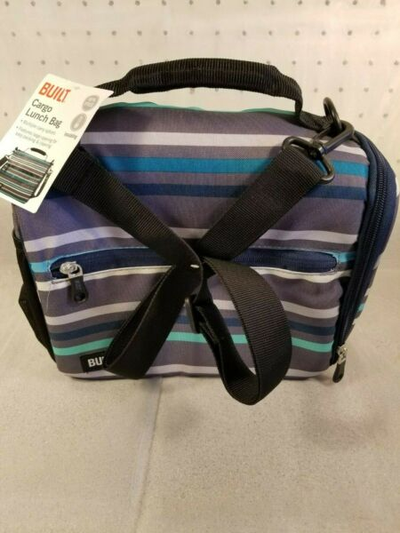 New Built Insulated Cargo Lunch Bag Blue Grey BPA Free with Shoulder Strap