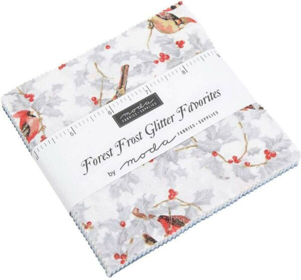 Moda Forest Frost Glitter Favorite Charm Pack 42 5quot; Precut Fabric Squares