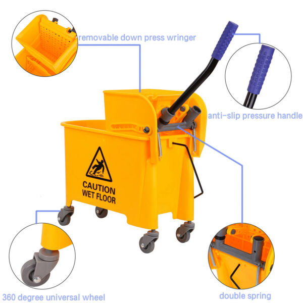5 Gallon Commercial Mop Bucket w Side Press Wringer Combo Rolling Cleaning Cart