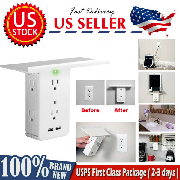 OEM Socket Shelf-8 Port Surge Protector Wall Outlet 6 Extender Outlet 2 USB Port