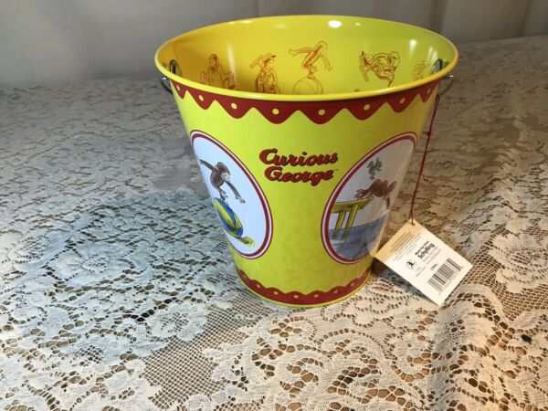 RARE NEW Curious George Tin Pail  Bucket by Schylling - Universal Studios