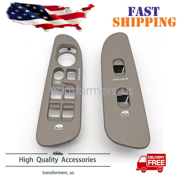 1 Pair Gray Front Window Switch Bezel L&R Fit For 2002-2005 Dodge Ram 1500-3500