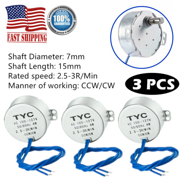 3x Turntable Synchronous Motor Electric Synchron Motor 100-127VAC for Cup Turner