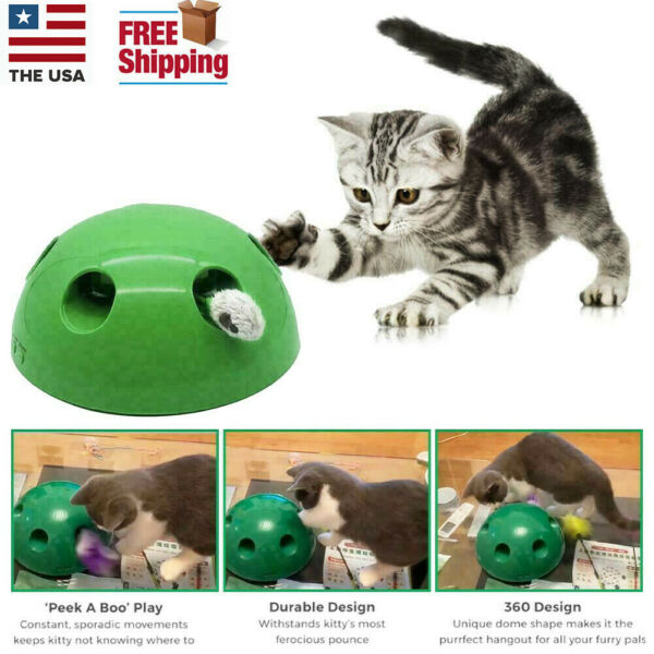Pop N' Play Interactive Motion Cat Toy Mouse Tease Electronic Pet Toys Funny