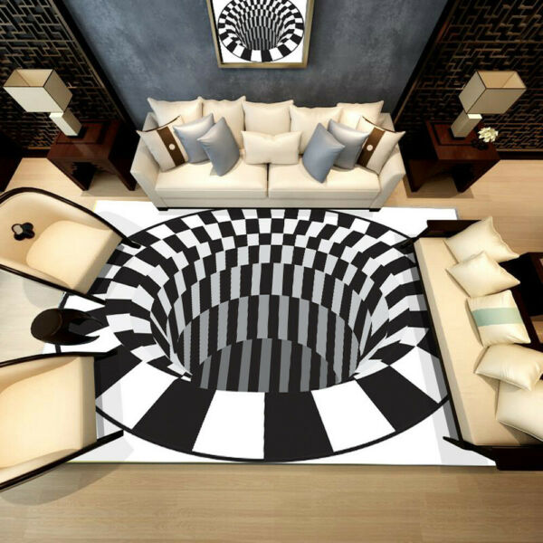 3D Bottomless Hole Optical Illusion Area Rug Carpet  Floor Mat Home Living Room