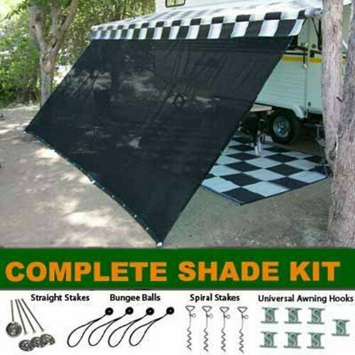 RV Awning Shade Kit RV Shade Complete Kit 8x18 Black