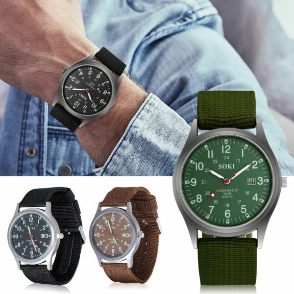 Military Army Aviator Men#x27;s Quartz Sport Wrist Watch Casual Nylon Canvas Strap