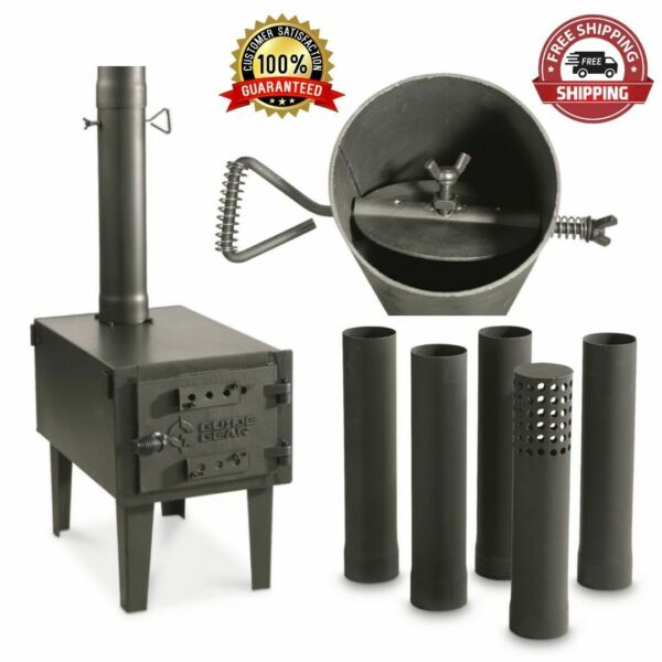 Outdoor Woodstove Wood Burning Stove Fireplace Fire Small Pipe Burner Camp Heat $153.28